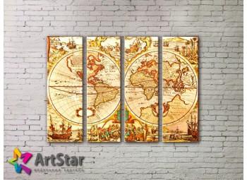 Модульные Картины, старинные карты, Art. MAP0017-4