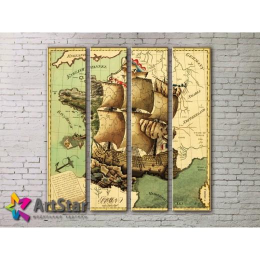 Модульные Картины, старинные карты, Art. MAP0019-4