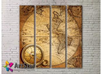 Модульные Картины, старинные карты, Art. MAP0023-4