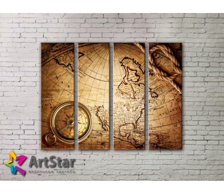 Модульные Картины, старинные карты, Art. MAP0027-4