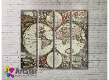 Модульные Картины, старинные карты, Art. MAP0033-4