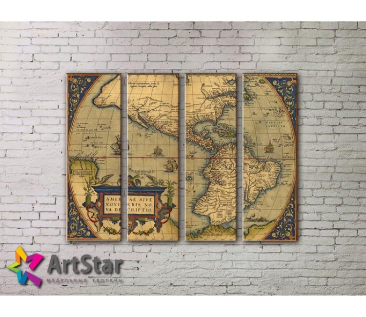 Модульные Картины, старинные карты, Art. MAP0041-4