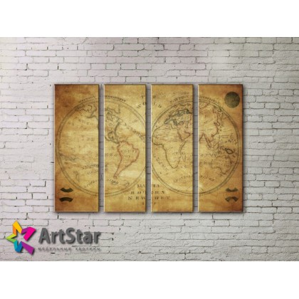 Модульные Картины, старинные карты, Art. MAP0043-4