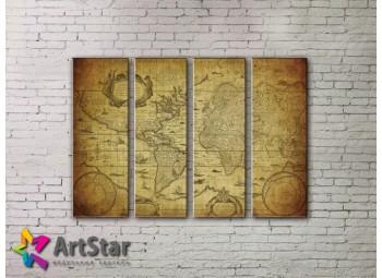 Модульные Картины, старинные карты, Art. MAP0045-4