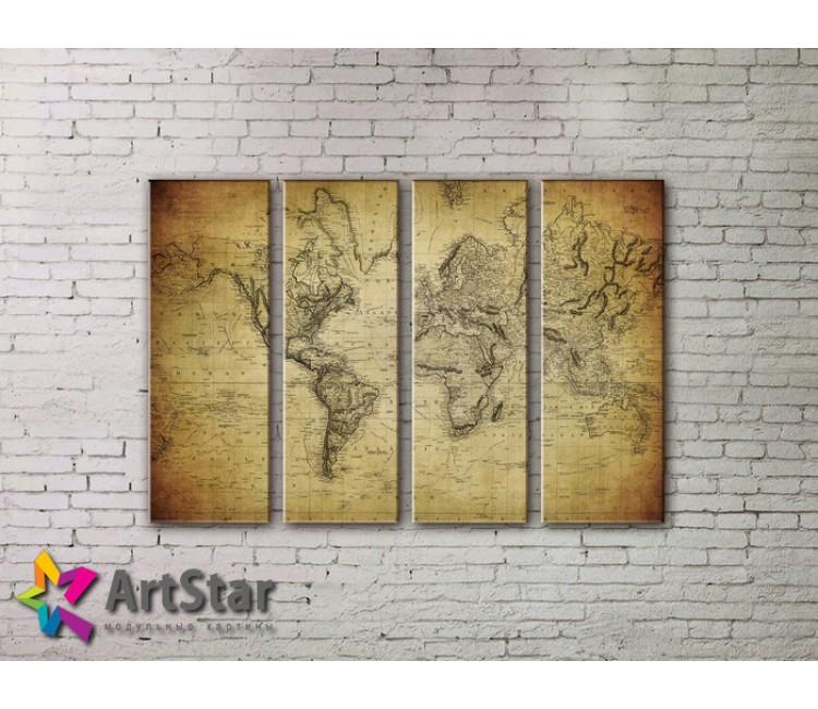 Модульные Картины, старинные карты, Art. MAP0047-4