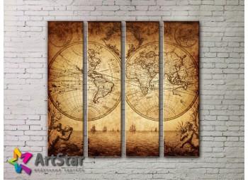 Модульные Картины, старинные карты, Art. MAP0049-4