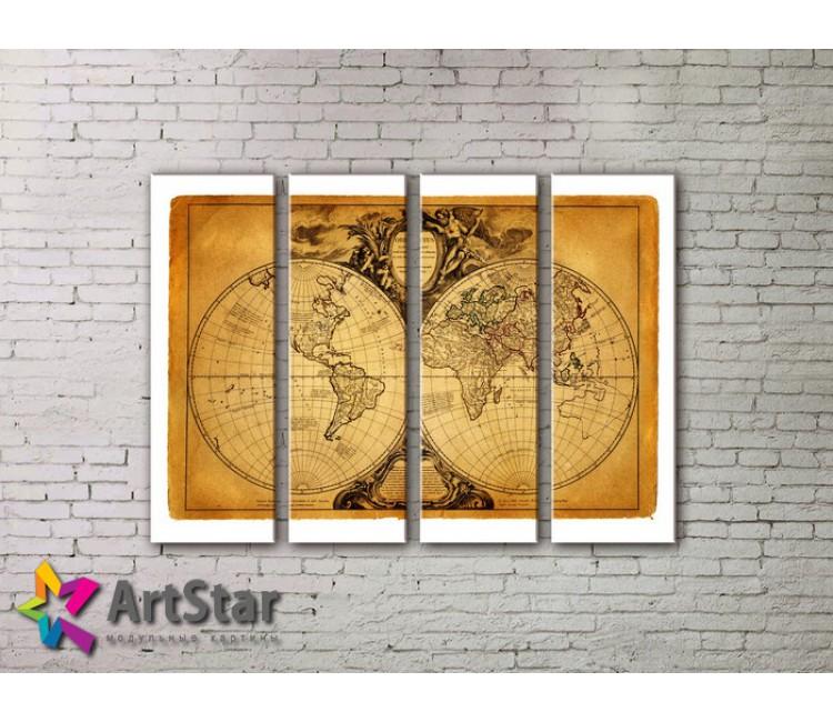 Модульные Картины, старинные карты, Art. MAP0051-4