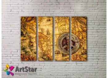 Модульные Картины, старинные карты, Art. MAP0057-4