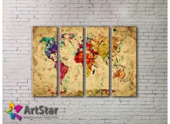 Модульные Картины, старинные карты, Art. MAP0059-4