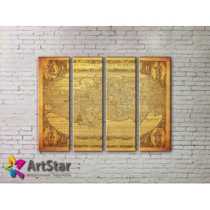 Модульные Картины, старинные карты, Art. MAP0061-4