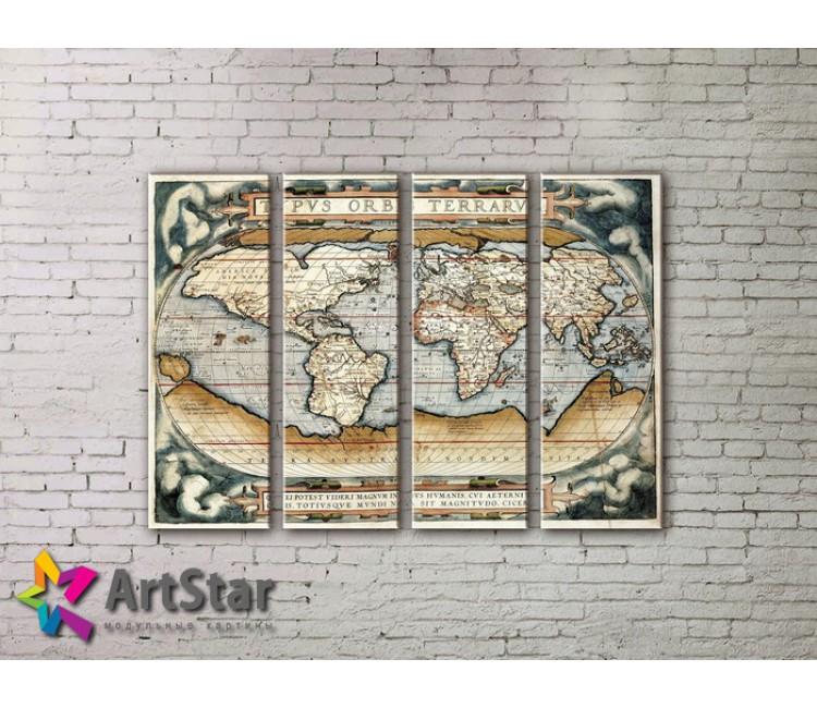 Модульные Картины, старинные карты, Art. MAP0063-4