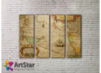 Модульные Картины, старинные карты, Art. MAP0065-4