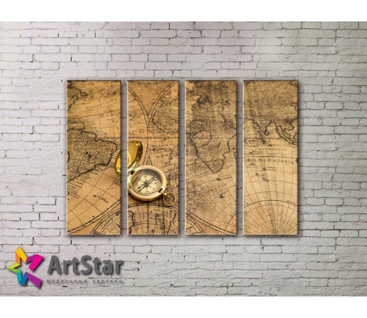 Модульные Картины, старинные карты, Art. MAP0067-4