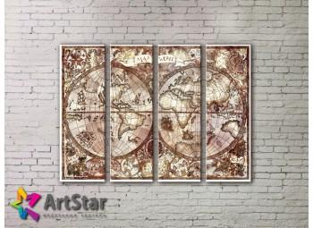 Модульные Картины, старинные карты, Art. MAP0070-4