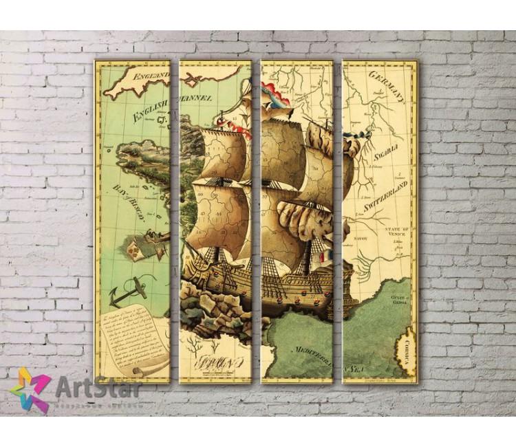 Модульные Картины, старинные карты, Art. MPP778122