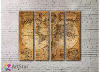 Модульные Картины, старинные карты, Art. MPP778124