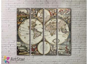 Модульные Картины, старинные карты, Art. MPP778136