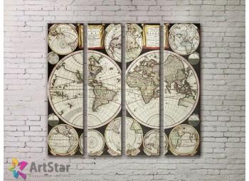 Модульные Картины, старинные карты, Art. MPP778138