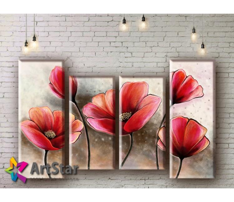 Модульные Картины, рисованные, маслом, Art. MHM17_4_256