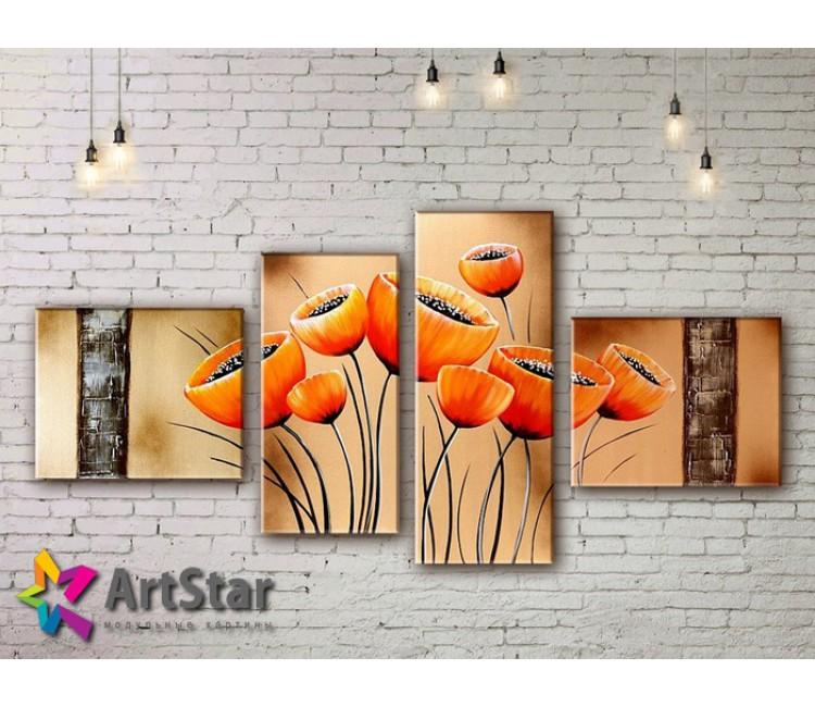 Модульные Картины, рисованные, маслом, Art. MKM17_4_009
