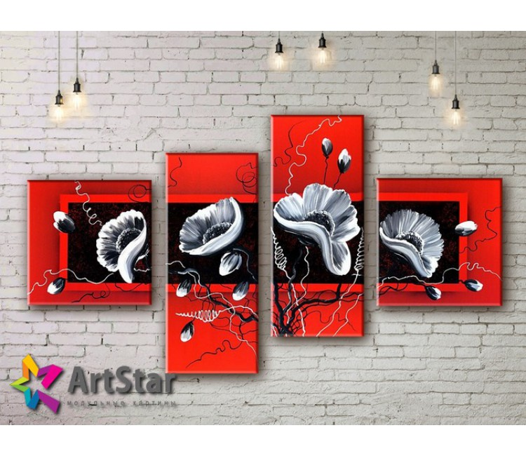 Модульные Картины, рисованные, маслом, Art. MKM17_4_075