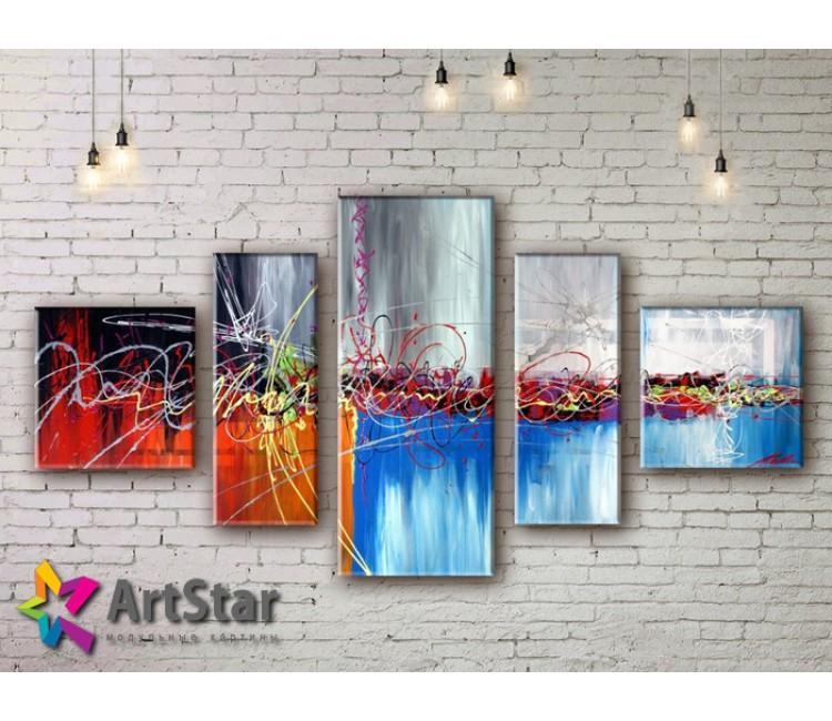 Модульные Картины, рисованные, маслом, Art. MKM17_5_007