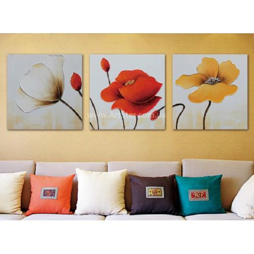 Рисованная модульная картина Цветы 6