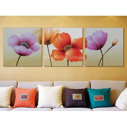 Рисованная модульная картина Цветы 13