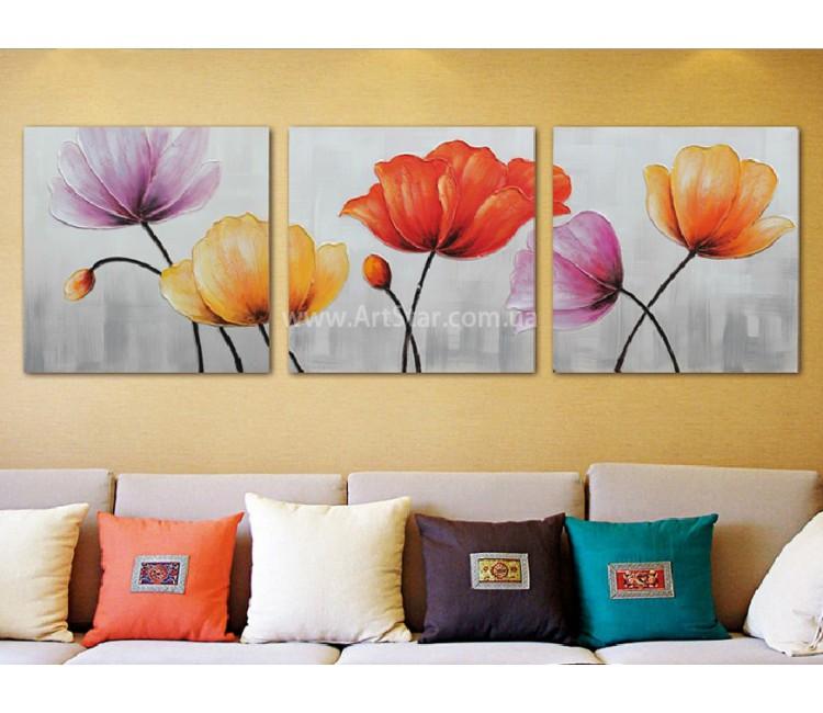 Рисованная модульная картина Цветы 14