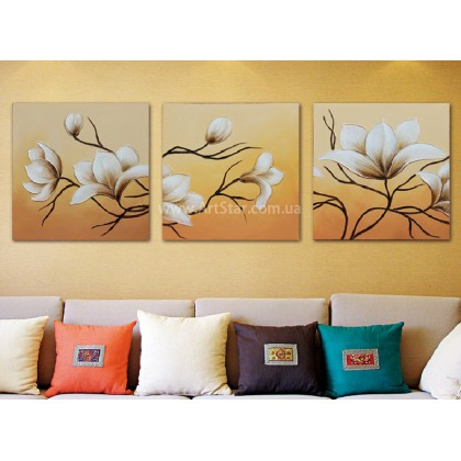 Рисованная модульная картина Цветы 15