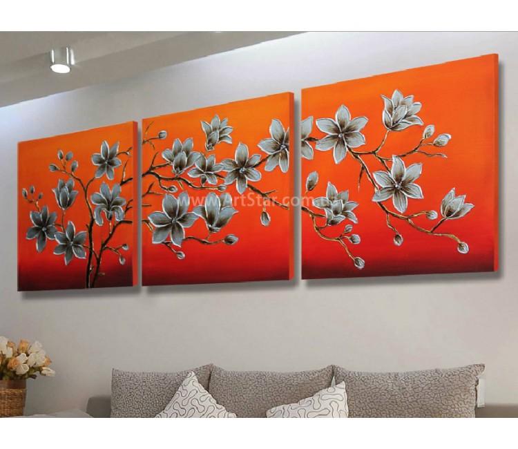 Рисованная модульная картина Цветы 16