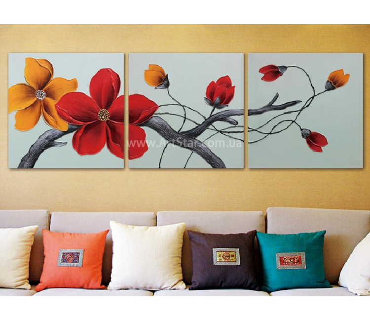 Рисованная модульная картина Цветы 17