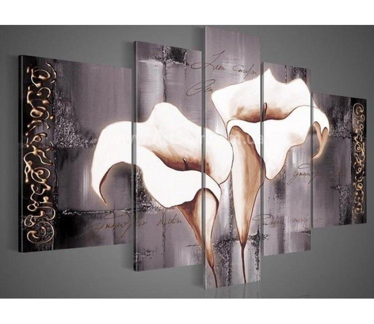 Рисованная модульная картина Цветы 36