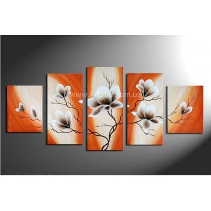 Рисованная модульная картина Цветы 37
