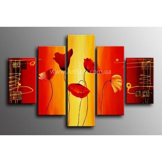 Рисованная модульная картина Цветы 38