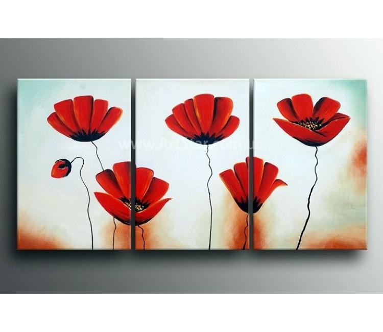 Рисованная модульная картина Цветы 35