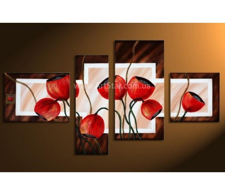 Рисованная модульная картина Цветы 42