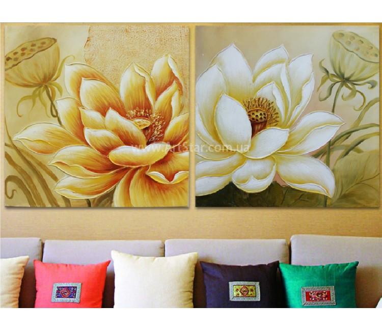 Рисованная модульная картина Цветы 28
