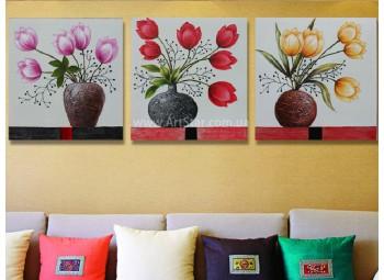 Рисованная модульная картина Цветы 21