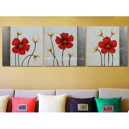 Рисованная модульная картина Цветы 23