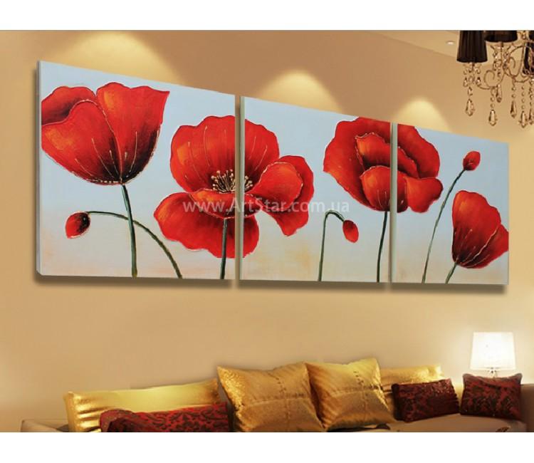 Рисованная модульная картина Цветы 24