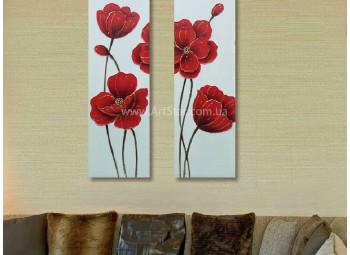 Рисованная модульная картина Цветы 47