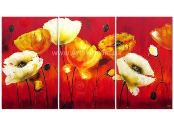Рисованная модульная картина Цветы 48