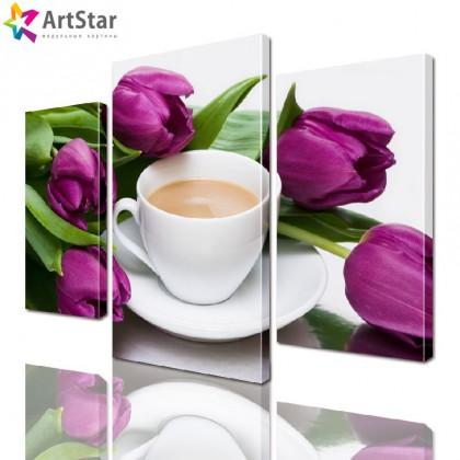 Модульная картина - Тюльпаны, Art. flrs_0061