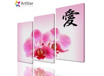Модульная картина - Орхидеи на розовом, Art. flrs_0071