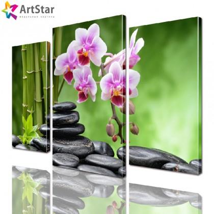 Модульная картина - Розовая орхидея, Art. flrs_0074