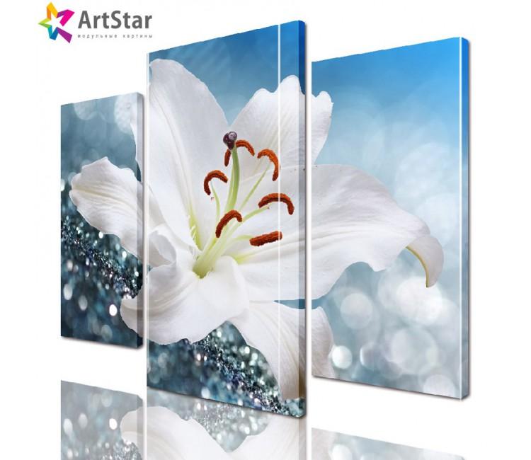 Модульная картина - Белая лилия, Art. flrs_0077