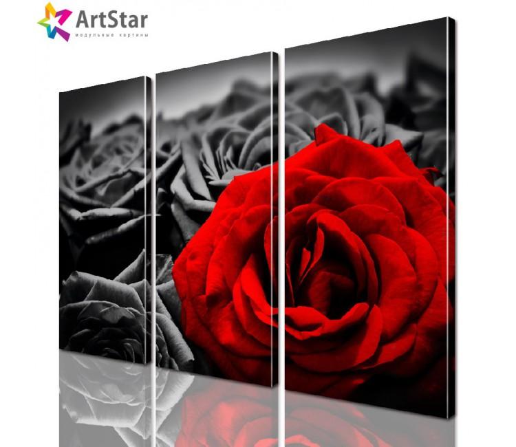 Модульная картина - Цветы, Art. flrs_0036