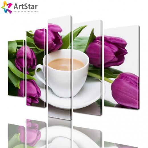 Модульные картины - Тюльпаны, Art. flrs_0221