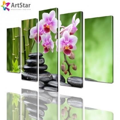 Модульные картины - Орхидеи и бамбук, Art. flrs_0234